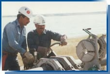 Eagle North America employees fusing a pipe